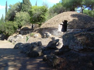Compare/contrast: a trapezoidal door to an Etruscan tumulus at the Cerveteri necropolis.